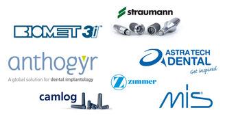 Straumann, Zimmer, Astra Tech, Anthogyr,Biomet 3I, Camlog, Mis