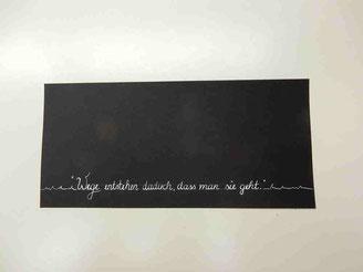 Modern Calligraphy einer workshopteilnehmerin - einfache und wirkungsvolle Komposition!