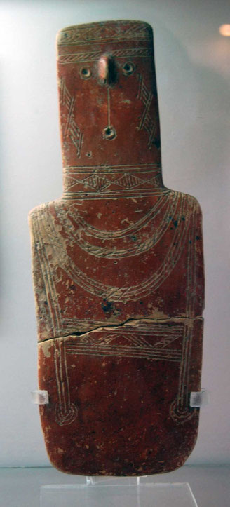 Plank shaped idol Red Pollished Ware Early Cypriot 2000-1850 BC: Cyprus Museum