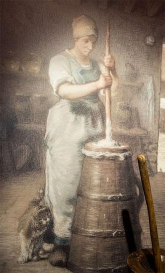 Gemälde von Jean-Francois Millet in seinem Geburtshaus in Grouchy