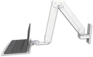 ICWUSA Elite5220シリーズ ロングアーム  ノートパソコン用アーム ガススプリング 昇降式アーム ダブルアーム EL5220LT-WT 壁固定 壁取付 ウォールマウント