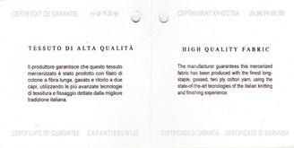 Il produttore garantisce che questo tessuto è stato prodotto con filato di cotone a fibra lunga, gasato e ritorto a due capi, utilizzando le più avanzate tecnologie di tessitura e fissaggio dettate dalla migliore tradizione italiana.