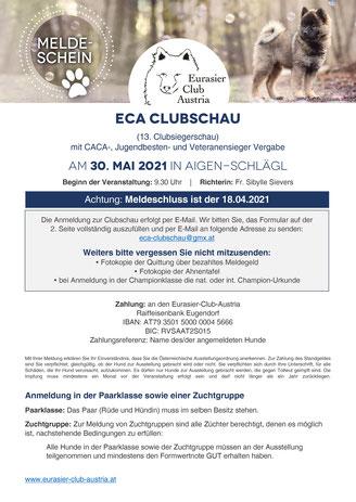 ECA-Klubschau 2019, Informationen zur Anmeldung