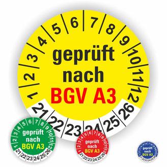 geprüft nach BGV A3 DGUV V3 nächster Prüftermin Prüfplaketten Wartungsetiketten
