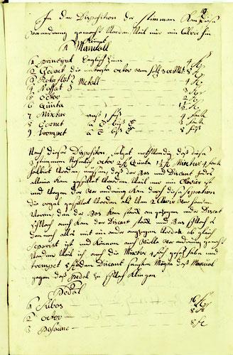 Disposition von Peter Migend (Anschlag vom 23. Juni 1754)