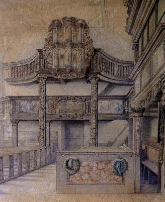 Die Orgel von 1708, Zeichung: Carl Gottfried Pfannenschmidt, 1846
