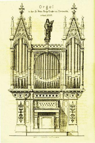 Zeichnung der Kienscherf-Orgel von 1882