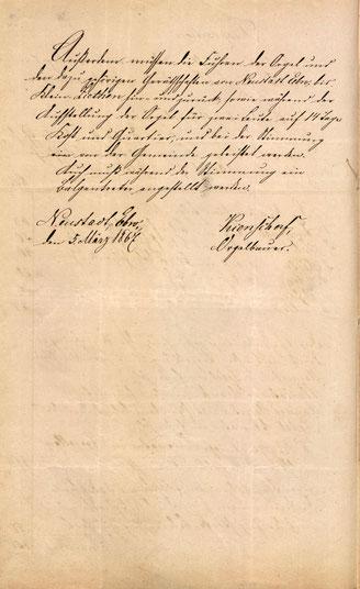 Ursprünglicher Kostenanschlag von 1867