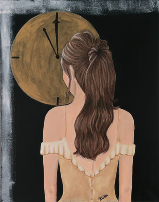 Japanese Nihonga painting surrealism surreal painting brown haired girl with ponytail in golden princess dress standing from behind looking at the golden moon clock artwork for your home art for sale