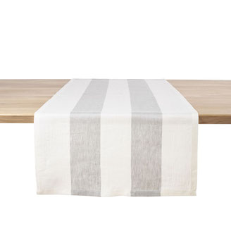 Chemin de table larges rayures 54 x 145 cm, 100 % lin