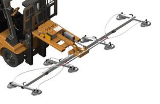 Finken Vakuum Hebegerät zum Anbau an Gabelstapler, mit Funkfernsteuerung und eigener Energieversorgung, Schwenkvorrichtung elektrisch, Traglast 500 Kg