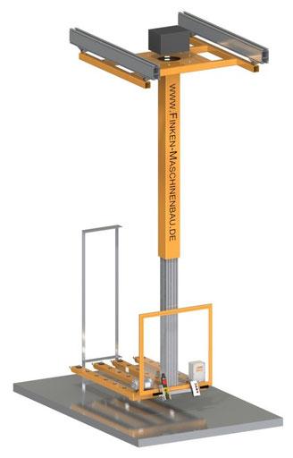 Starre Hubsäule mit Lastgabel zur Regalbeschickung mit Platten