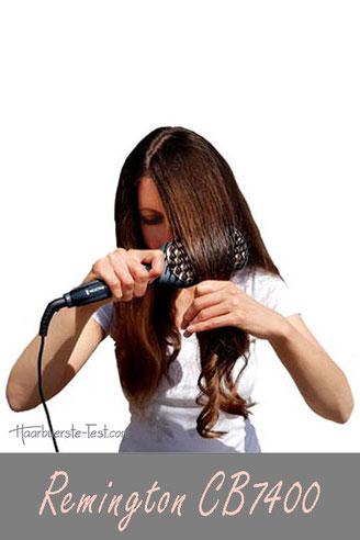 Remington Glättbürste CB7400 Test, Frau, lange wellige Haare, braune Haare