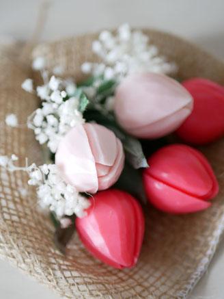 ソープカービング アレンジメント 花束 チューリップ