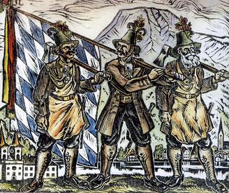 Holzschnitt: 3 Tegernseer Gebirgsschützen