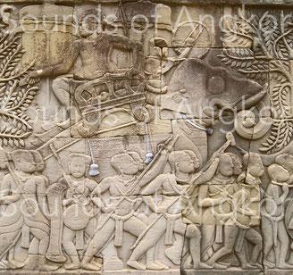 Les éléphants de combats sont ensonnaillés de cinq cloches : une autour du cou et deux sur chaque flanc. Bayon.