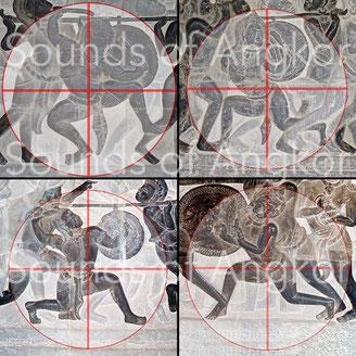 Les tambourinaires s'inscrivent dans un cercle dont le centre est proche du hara.