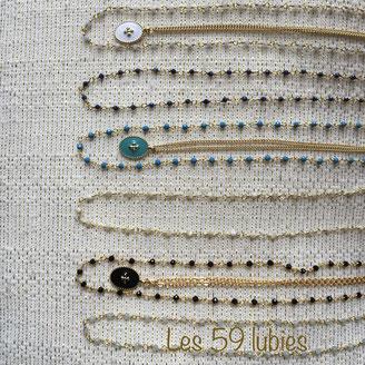 Collier chaîne rosaire au choix en spinelle, lapis lazuli, calcédoine ou pierre de lune de 40 cm avec une chaîne de rallonge de 55mm