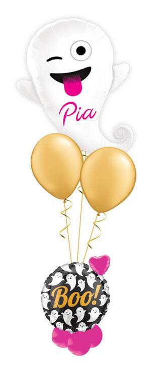 Ballon Luftballon Folienballon Dekoration Geschenk Halloween Party Deko Tischdeko Mitbringsel Versand Heliumballons Happy Halloween Ghost Gespenst gruselig süß pink Herz Überraschung Emoticon Gespenst Boo Bouquet Geister mit Namen personalisiert