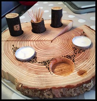 Baumscheibe als Teelichthalter