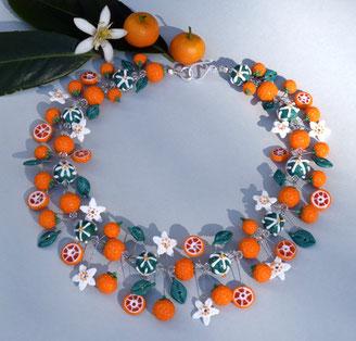 Orangenkette aus Glasperlen