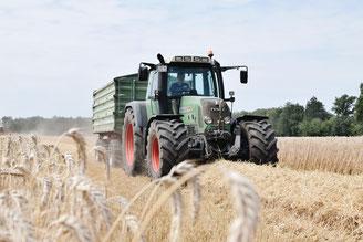 Traktor mit Auszubildenem zum Landwirt