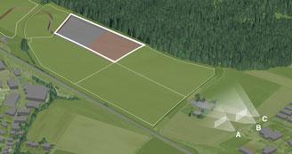 Die nebenstehenden Visualisierungen wurden mit Aufnahmen von Kamerastandort A (4 m über Boden) erstellt.