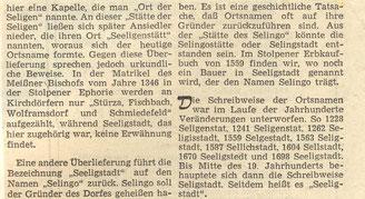 Bild: Seeligstadt Chronik 1978