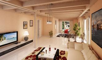 3d Wohnzimmer und Essbereich