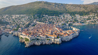 Aerial View of Dubrovnik City Center