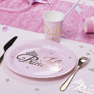 ANNIVERSAIRE FILLE THEME PRINCESSE ROSE ET OR