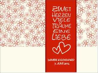 Gästebuch Zwei Herzen Rot