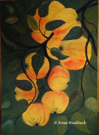 Acrylbild, acryl, äpfel, obst, früchte,  herbst, gelb, braun,  bild, malen, malerei, kunst, geko, dekoration, wandbild, abstrakt, kaufen, schenken