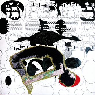 Turnerin, 2009. Maschinenstickerei / Tusche / Holz, 20 x 20 cm. Privatbesitz)