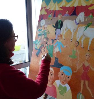 Travail en cours sur le thème du cirque, intitulé CIRQUE ET CHEVAUX au format xxl, huile sur toile 50F