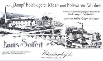 Bild: Teichler Wünschendorf Erzgebirge Seifertmühle Reklame um 1910