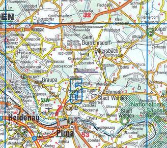 Bild: Wünschendorf Sachsen Teichler  Dürrröhrsdorf - Dittersbach Karte