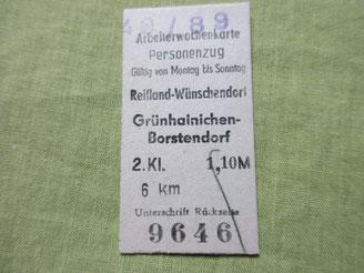 Bild: Teichler Wünschendorf Erzgebirge Fahrkarte 1989