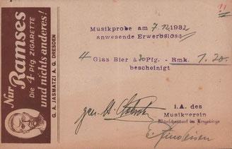 Bild: Musikverein Wünschendorf Quittung 1932