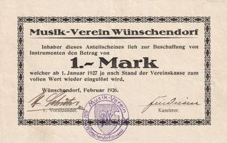Bild: Wünschendorf Musikverein Anteilschein 1926