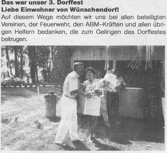 Bild: Wünschendorf Erzgebirge Dorffest 1992