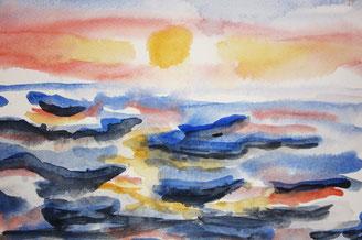 Sonnenuntergang, 2004 in der Psychiatrie gemalt.