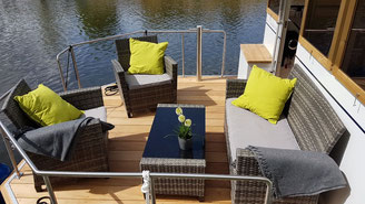 Hausboote mieten 4 Personen Brandenburg. Hausboot - Bugterrasse.