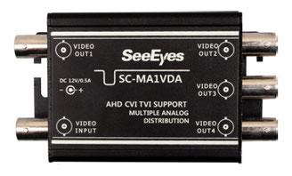 AHD/TVI/CVI/CVBS 映像4分配器 - 本体写真(小)