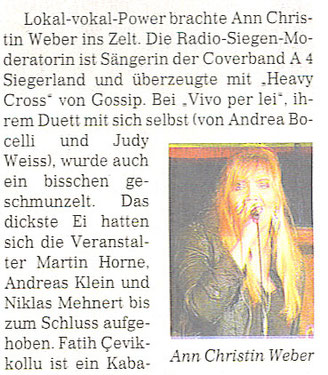 """Ann-Christin bei """"Kunst gegen Bares"""" in Siegen 11.07.2013"""