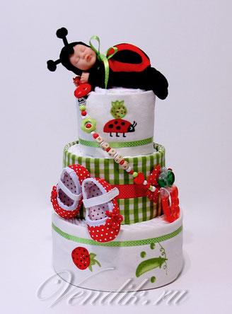 """Торт из памперсов для девочки с именным держателем для соски (из коллекции """" Летний сон"""")"""