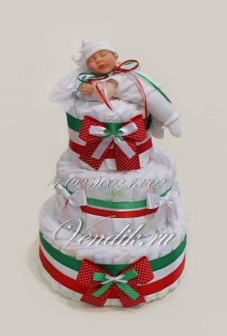 """Торт из памперсов """"New Baby""""  (из коллекции """" Рождественское чудо"""")"""