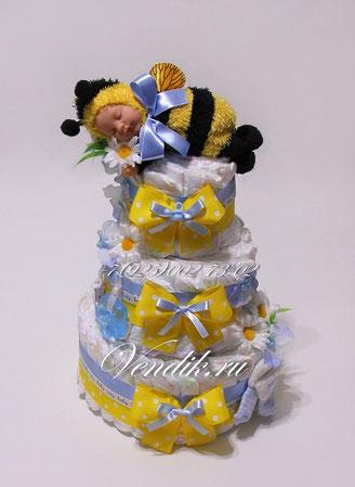 """Торт из памперсов для мальчика """"Жужу"""" (из коллекции """"Сладкий сон"""")"""
