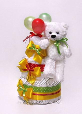 """Яркий торт из памперсов - подарок на выписку из роддома,  универсальный """"Мишка с шариками"""""""