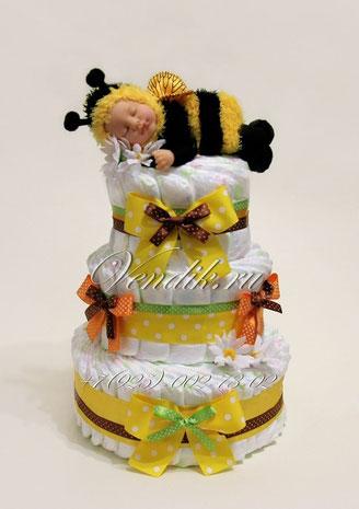 Памперсный подарок для ребёнка с коллекционной куклой Анне Геддес Спящей пчёлкой